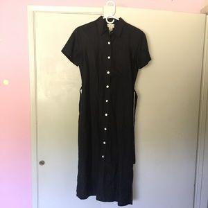 Vintage black embroidered shirt dress